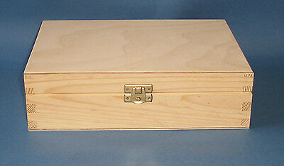 New  Rectangular Pine / Ply  wooden box  with hinge and  catch to paint takes A5