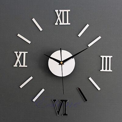 Silver DIY 3D Roman Numbers Watch Wall Clock Home Decor Mirror Wall Sticker