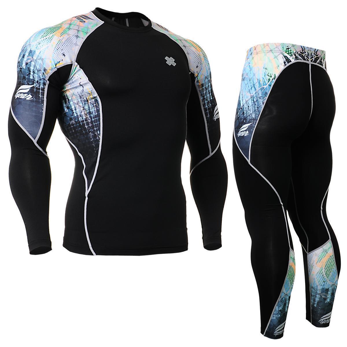 Fixgear camisas de compresión C2L P2L-B42 y pantalones de Sportswear MMA Entrenamiento Gimnasio