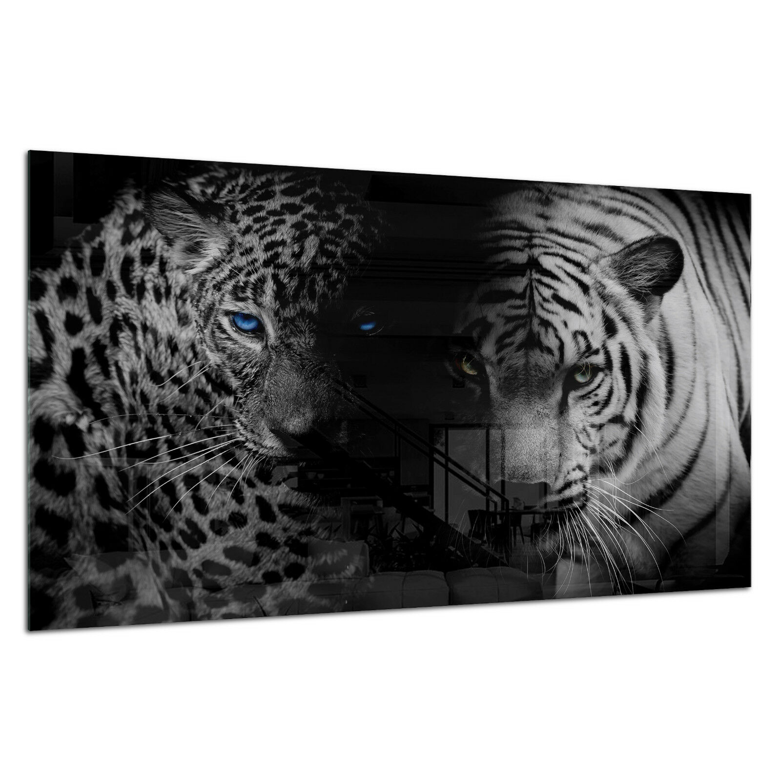 Tempered Glass Photo Print Wall Art Picture B&W Tiger Panther Cat Prizma GWA0344