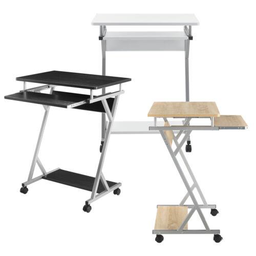 en.casa Schreibtisch 60x40x75cm Schwarz Rollbar Computertisch Bürotisch Tisch