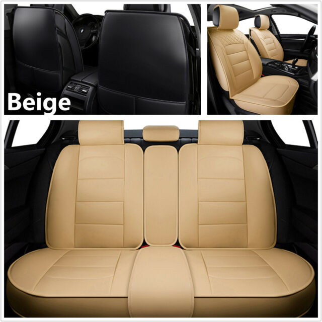 Astonishing 5 Seats Front Rear Full Set Universal Beige Pu Leather Car Seat Covers Cushion Theyellowbook Wood Chair Design Ideas Theyellowbookinfo