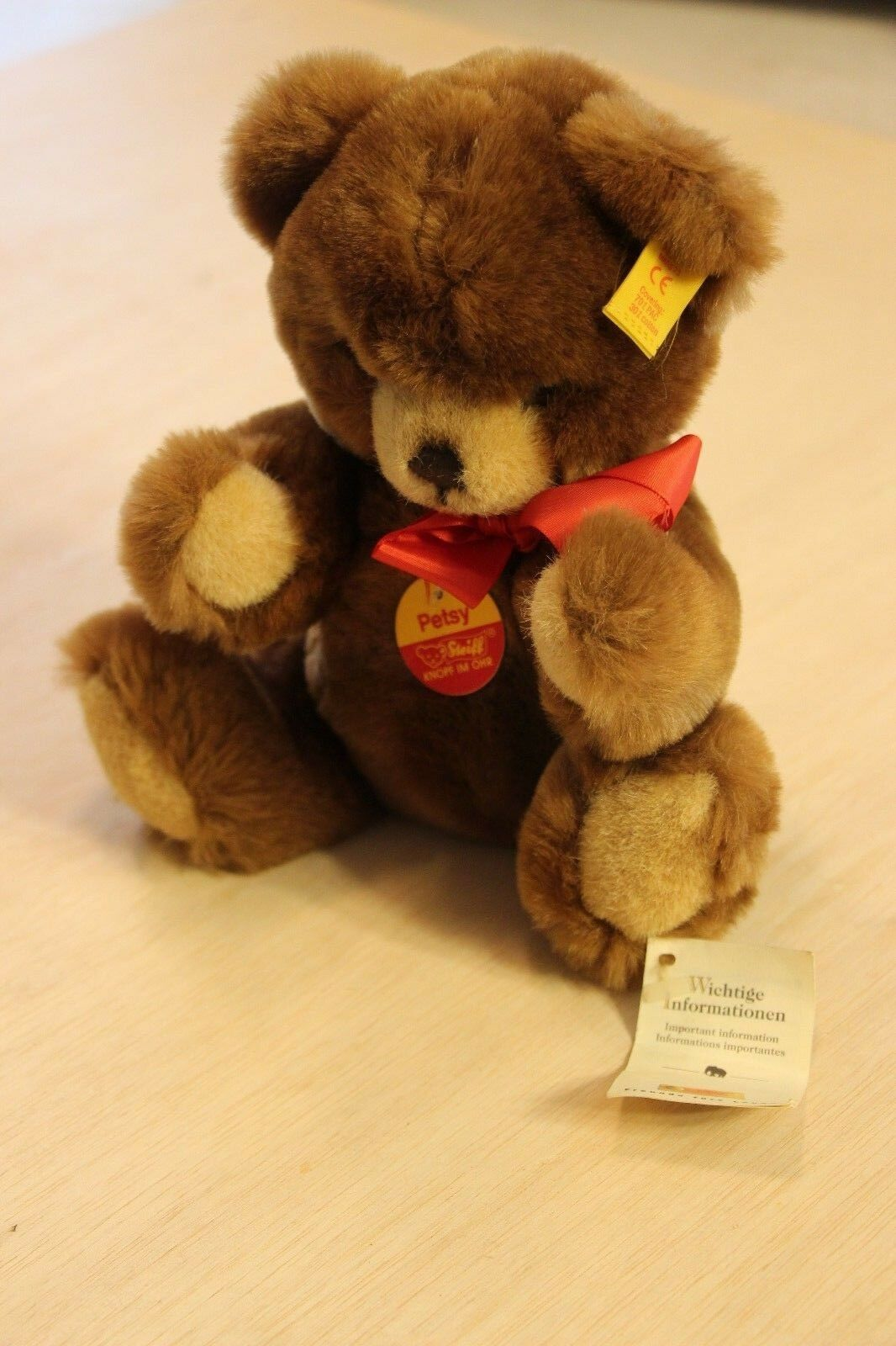 11  Jointed Vintage Steiff Pesty Bear Stuffed Animal With Squeaker EAN 012556