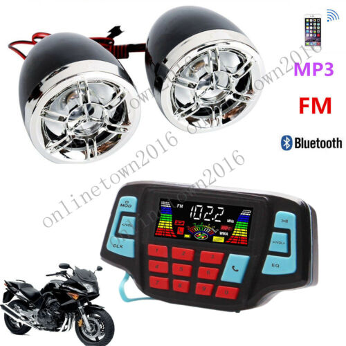 12V Motorcycle Bluetooth Audio FM Radio Stereo Speaker For iPhone//iPod//MP3