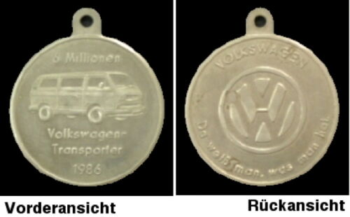 Medaille Münze VW Bus T3 Sonderprägung 1986-6.000.000 VW Transporter