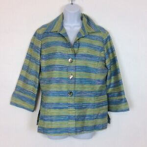 Austin Reed 100 Silk Striped Three Button Blazer Jacket Size 10 Green Blue Ebay