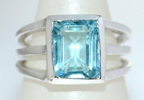 Genuine Blue Topaz Sterling SILVER Ring Gemstone 925 Gift 15 Size N 6½ to Z+5