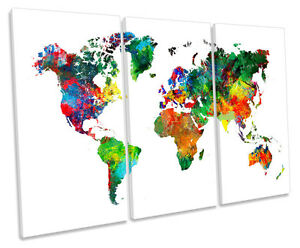 World map multi coloured canvas wall art triple box frame print ebay image is loading world map multi coloured canvas wall art triple gumiabroncs Gallery