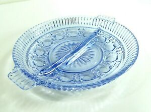 Vintage-Ice-Blue-glass-Relish-Dish-Round-Handled-Divided-8-5-034