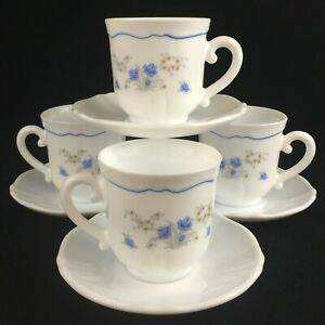 Set-of-4-VTG-Cups-and-Saucers-by-Arcopal-Romantique-Blue-Floral-Daisies-France