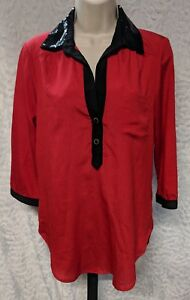 Heart Soul Womens Shirt Size M Black Red Sequin Collar Power Career Business