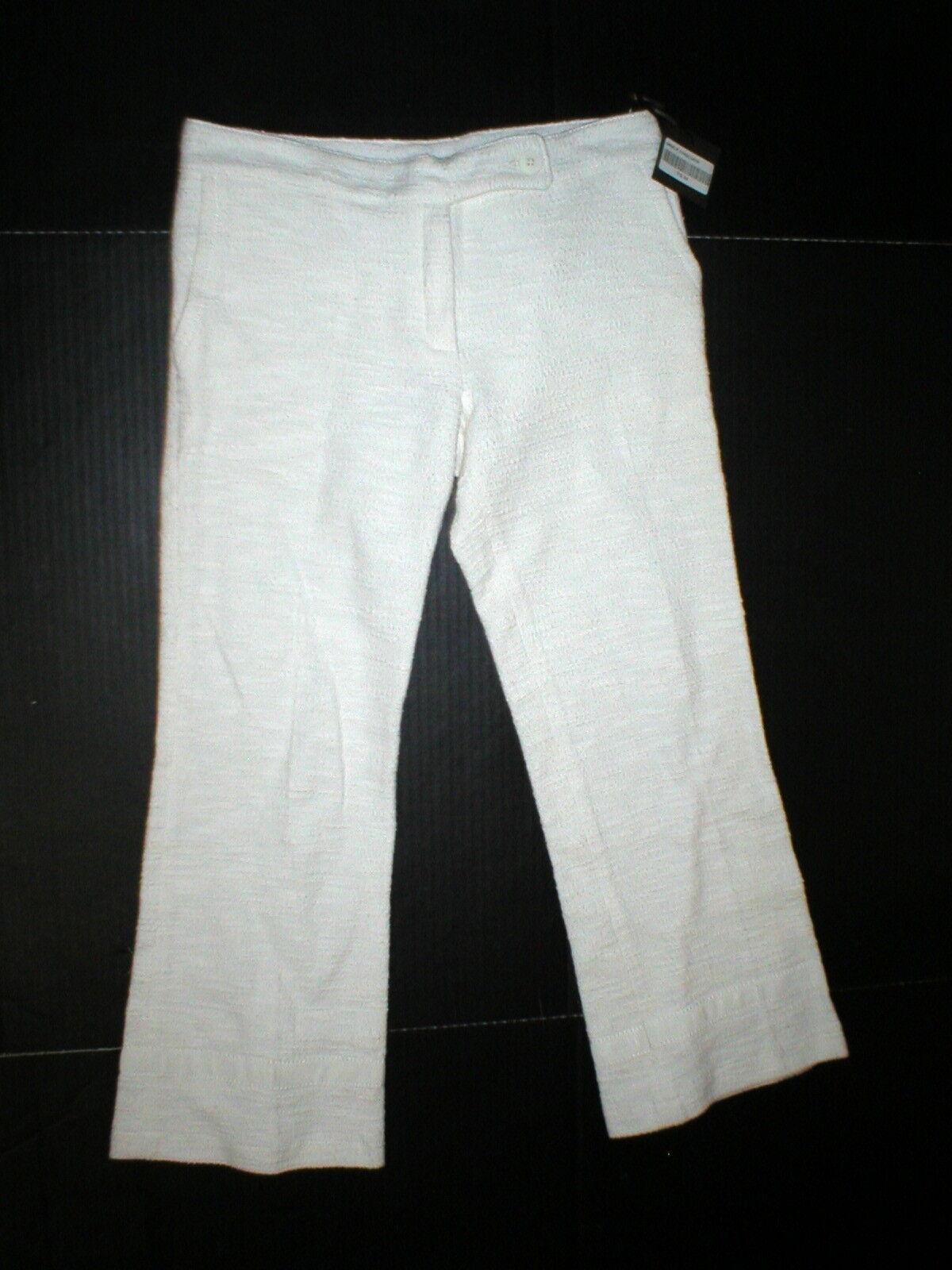New NWT Authentic Designer Womens 2 Jo No Fui White Crop Pants 38 IT  3 4