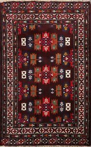 Nomad Geometric Balouch Hand-knotted Area Rug Tribal Oriental Kitchen Carpet 3x4