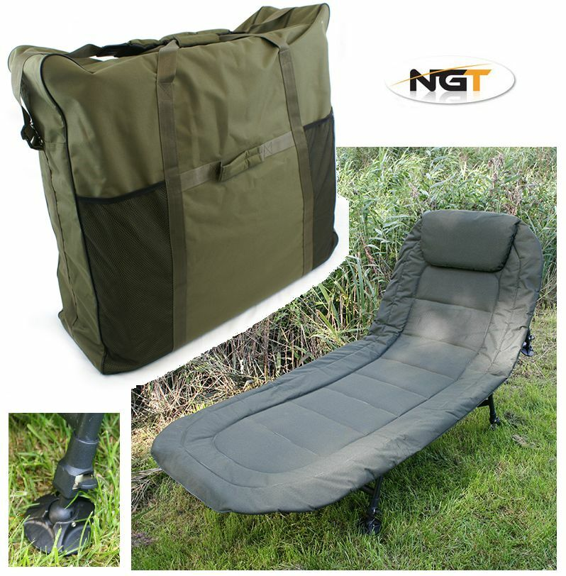 NGT DELUXE CARP FISHING BEDCHAIR 6 LEG RECLINER + PADDED BED CHAIR CARRY BAG