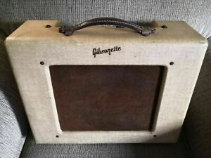 Vintage-1950s-Gibson-Gibsonette-Tube-Amplifier-1956-Amp-Functioning