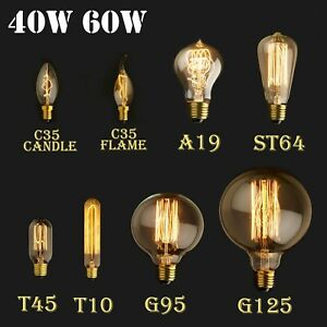 e27 e14 40 60w vintage r tro ampoule filament carbone incandescente lampe 220v ebay. Black Bedroom Furniture Sets. Home Design Ideas