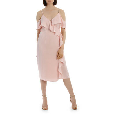 NEW Tokito Collection Wrap Cold Shoulder Dress Lt Pink
