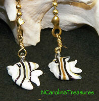 Art Glass Ceiling Fan Chain Light Pull White Black Gold Fish Fishes Small Pair