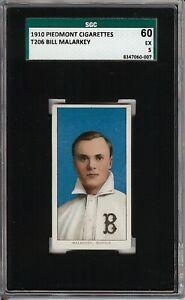 Rare 1909-11 T206 Bill Malarkey Piedmont 350 Buffalo SGC 60 / 5 EX