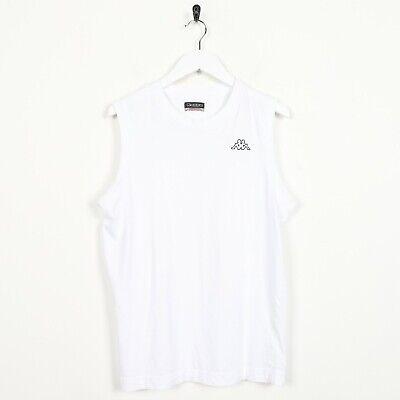 recursos humanos rescate imagen  Vintage Kappa Pequeño Logo Sin Mangas Chaleco Camiseta Camiseta Color Blanco  Medio M | eBay