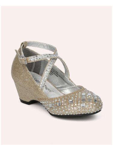 New Girl Little Angel Hailey-969E Glitter and Rhinestone Cross Strap Kiddie Heel