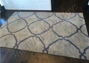 Pottery-Barn-Tonal-Tile-Rug-Gray-Ebony-3x5-Tufted-Wool-New-Authentic