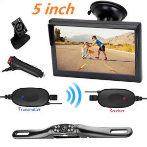 5'' Screen Monitor 12V Car Reverse Rear View Night Vision Backup Camera Wireless