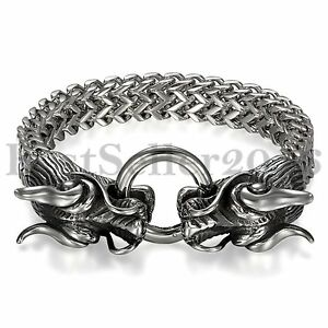 Image Is Loading Biker Heavy Stainless Steel Silver Dragon Head Cuff