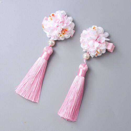 Kids Girls Vintage Fur Pom Ball Flower Pearl Tassels Hair Clip Costume Accessory