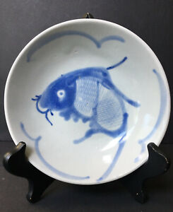 VINTAGE-Chinese-Fish-Blue-White-Hand-Painted-Footed-Bowl-Antique-Signed