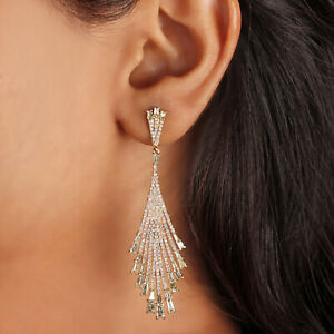 Diamond Long Dangle Earrings Solid Pave 14K Yellow Gold Fashion Jewelry