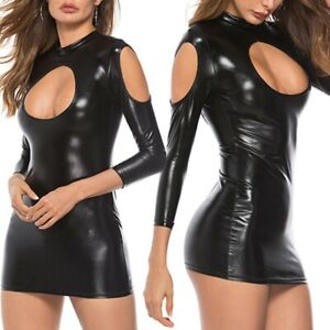 Women Wet Look Mini Dress Leather Bodycon Skirt Lace up Party Lingerie Clubwear