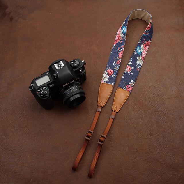 Print Denim/Leather Camera Shoulder Neck Strap for SLR DSLR 7134 !Beautiful