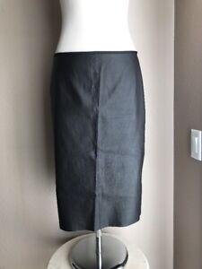 7ebc934231 Prada New Black 100% Leather Pencil Skirt Italy 46 US 10 New | eBay