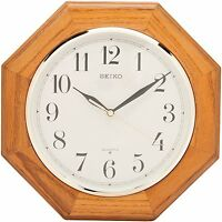 Seiko Wall Clock Medium Brown Solid Oak Case , New, Free Shipping on sale