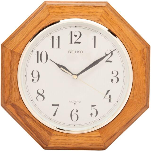 Seiko Wall Clock Medium Brown Solid Oak Case , New, Free Shipping