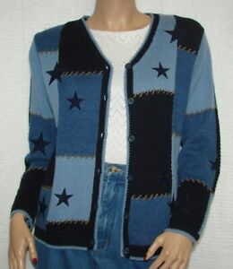 Christopher-amp-Banks-Hand-Embroidered-Blue-Knit-Cardigan-Sweater-Size-M-Stars