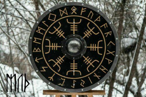 Medieval Larp Warrior Wood /& Steel Viking Round shield Armor Templar Shield