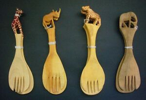 African Large Wood Salad Servers Giraffe Leopard Rhino Elephant