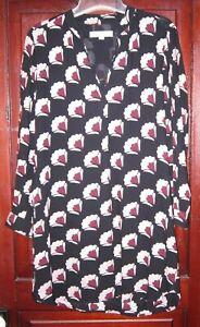 Ann-Taylor-Loft-S-M-Tunic-Shift-Dress-Popover-Pockets-V-Neck-Rayon-Print