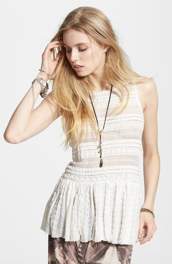 NWT Free People Woherren Sexy Texturot Pucker  Lace Cami TunicTop Shirt XS S M L