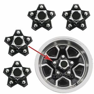 4-El-Camino-Monte-Carlo-Rally-Wheel-Center-Hub-Caps-Black-5-Star-Lug-Nut-Covers