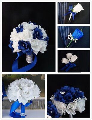 Royal Blue (Horizon Blue) White Silver Gray bouquet boutonniere corsages