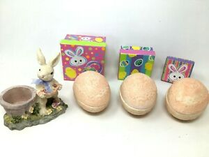Lot of 7 Vintage Easter Decorations Ceramic Eggs Easter Bunny Boxes Decor