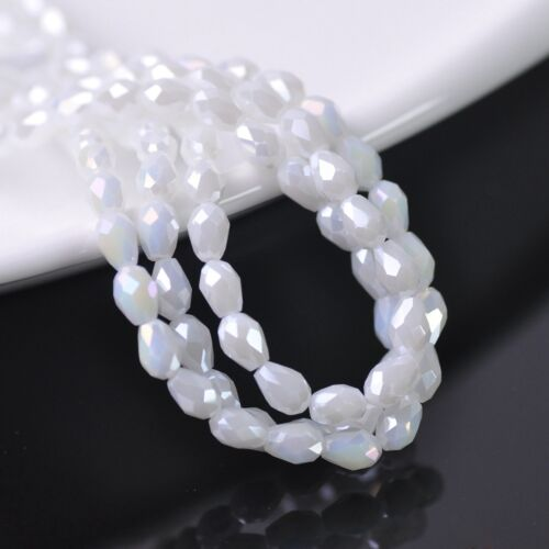 NEW 100pcs 6X4mm Teardrop Faceted Crystal Glass Spacer Loose Beads Color #304