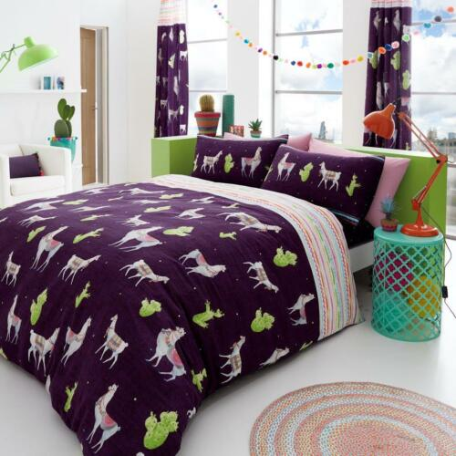 Duvet Cover with Pillowcases LLama Reversible Poly-Cotton  Single Double King
