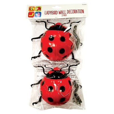 2 x Giant Garden Ladybird Fence Wall Tree Mounted Plastic Ornament Decorations