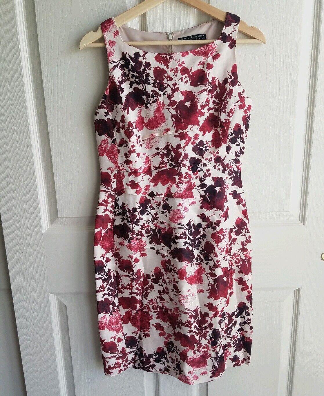 Peruvian Connection damen Sleeveless Burgundy Floral Cannes Sheath Dress Größe 2