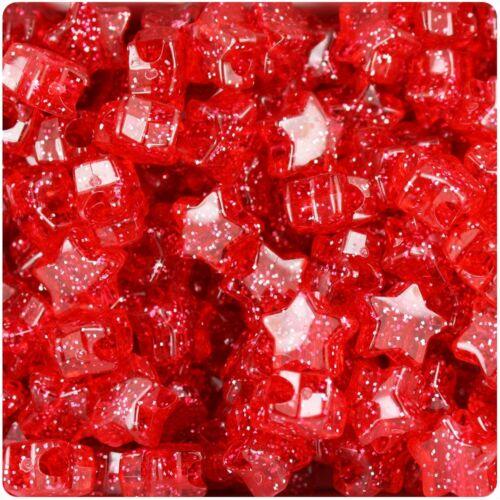 50 x Red Sparkle Star Shape 13mm Highest Quality Pony Beads