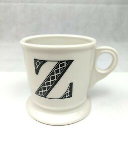 Anthropologie Letter Z Initial Coffee Mug White Black Retro Shaving Cup Monogram
